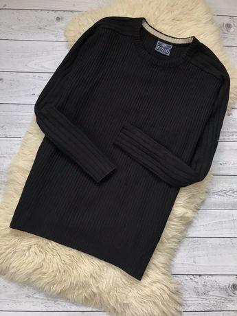 Кофта чёрная свитер рубчик Италия свитшот Л