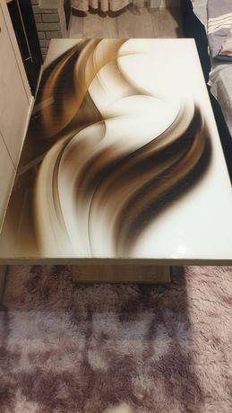 Ława drewniana z malowanym szkłem