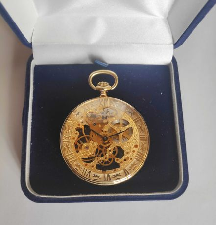 Relógio de bolso esqueletizado banhado a ouro