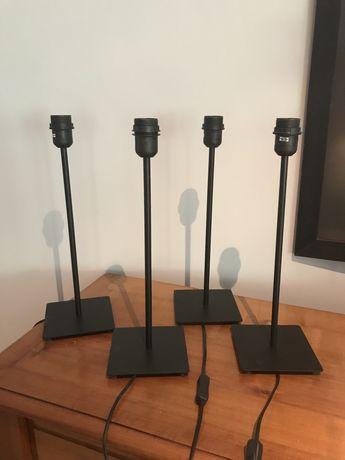 Quatro candeeiros de mesa em ferro preto IKEA