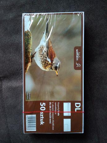 NOWE,ofoliowane koperty z okienkiem 50 szt DL 110x220 mm (20 gr/szt)