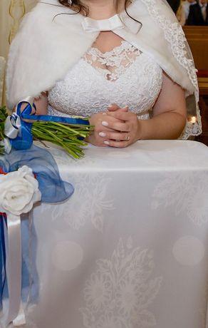 Śnieżnobiała etola - bolerko ślubne