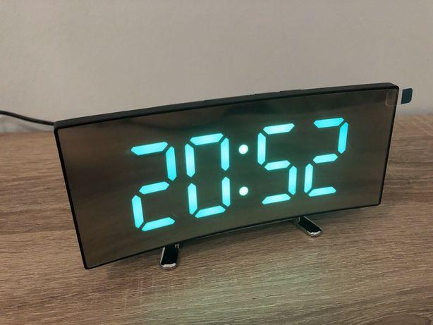 Зеркальные настольные часы светодиодные годинник с будильником