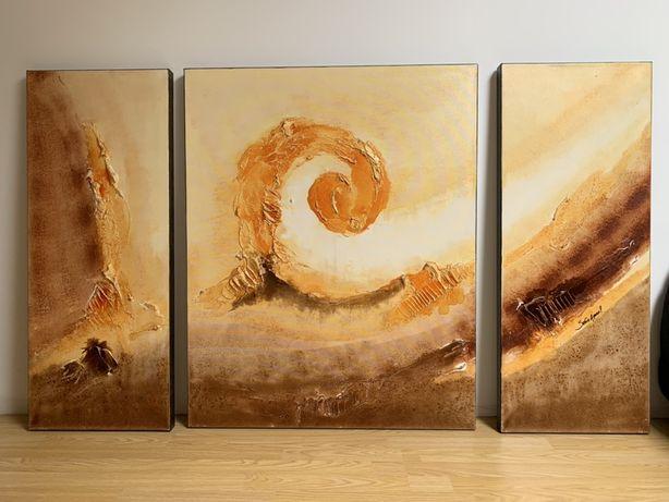 Oportunidade Conjunto de 3 telas pintadas à mão