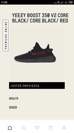 Yeezy Boost 350 V2 Core Black / Core Black / Red 43⅓