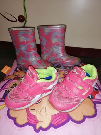 Kalosze i sportowe buciki reebok dla dziewczynki rozmiar 21.