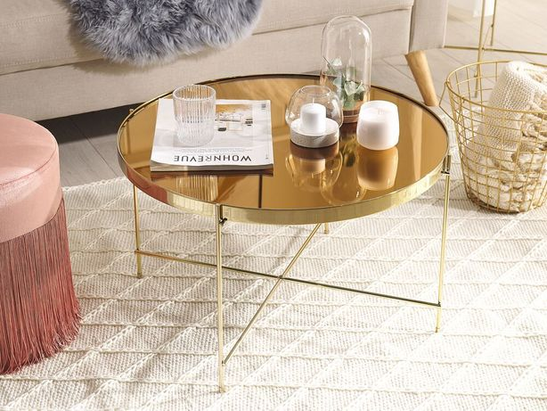 Mesa de centro ø 63 cm castanha e dourada LUCEA - Beliani