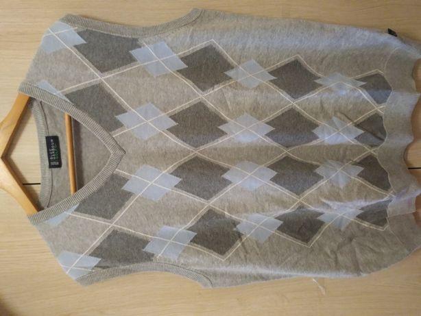 Nowa męska kamizelka sweterek jasny szary kolor wzór