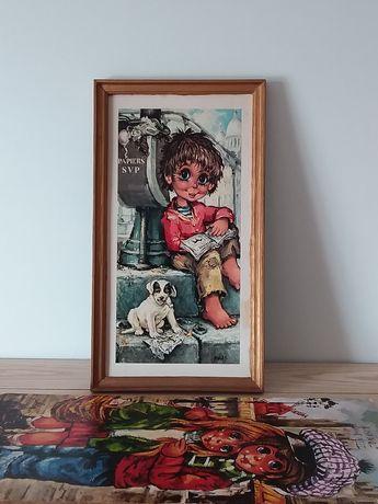 Quadros antigos com Crianças de Olhos Grandes