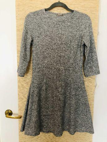 Szara sukienka rękawy 3/4 rozmiar 36