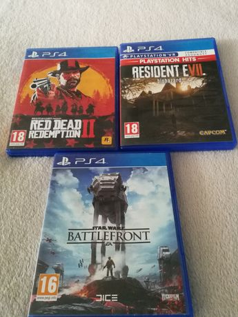Red dead redemption II, resident evil 7, star wars ps4