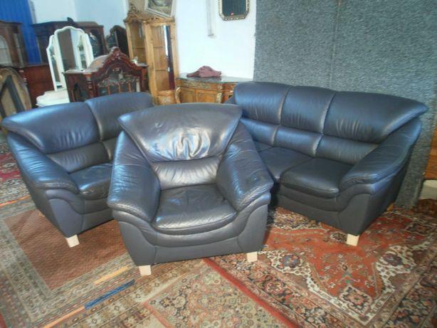 Wypoczynek Sofa 3+2+1 Skóra Granat z Niemiec