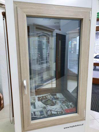 Okno pcv veka dw dąb bielony 86 × 143 cm