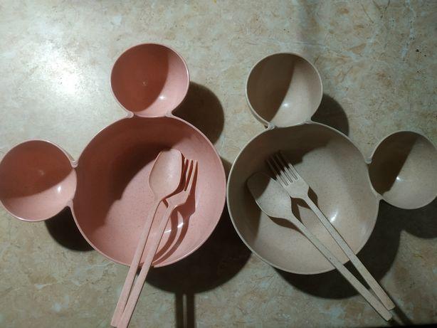 Детская посуда для двойни тарелки детские
