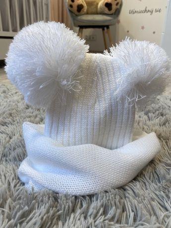 Komplet zimowy biały dla niemowlaka