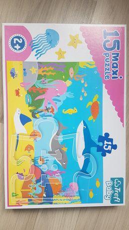 NOWE puzzle maxi rybki rekin delfin 2+ Trefl Baby 15 elementów