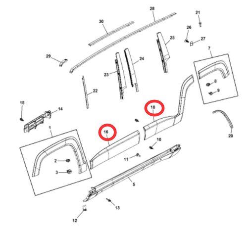 Молдинг двери Jeep Renegade 5VX84LXHAA, 5VX88LXHAA