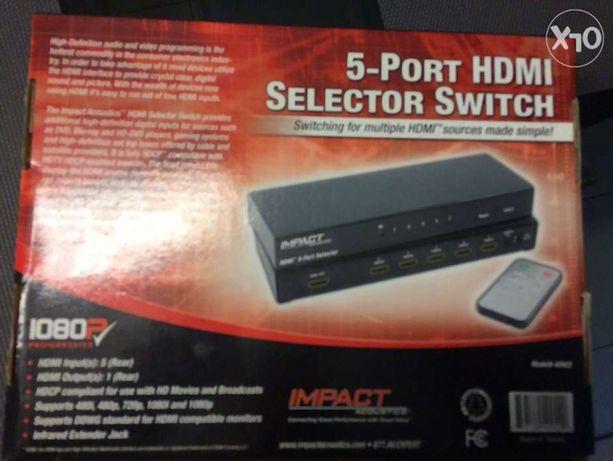 Przełącznik HDMI 1080p 5x1 (Impact) -nowy