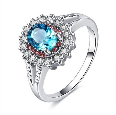 Anel com pedra Azul Strass Rodada Rosa de Cristal