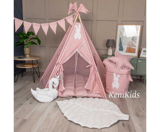 НОВИНКА! Палатка Вигвам «ЗАЙКА» Розовый с Листиком. В наличии! KENI