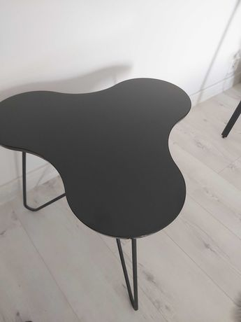 Tuoni stolik kawowy, lakierowany metal, drewno, czarny NOWOCZESNY
