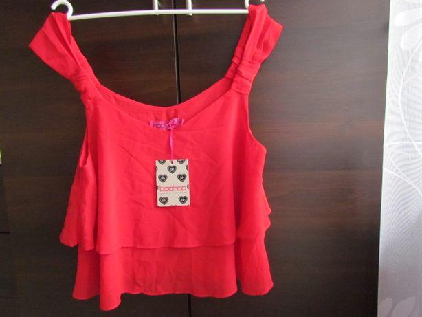 nowa, letnia, czerwona bluzka boohoo roz.L