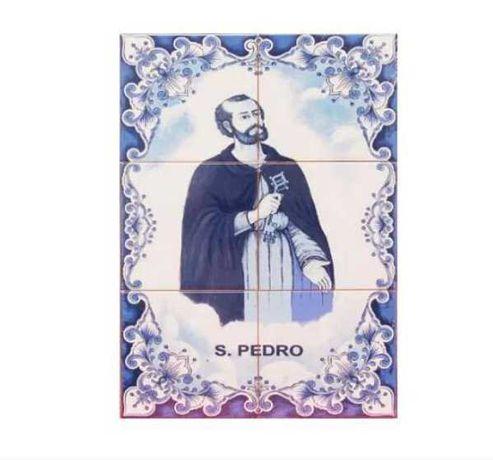 Painel de Azulejos Imagem SÃO PEDRO Quadro azul e branco p/ Parede