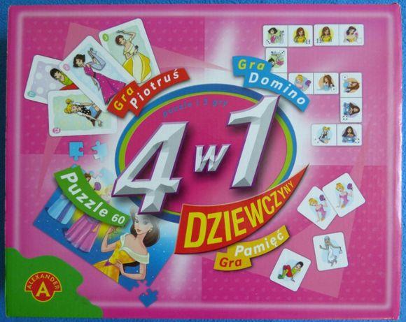 Zestaw gier 4 w 1 Dziewczyny - Piotruś, Domino, Puzzle, Pamięć