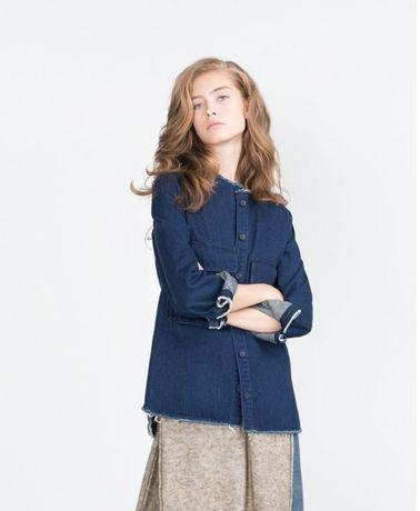 ZARA стильная джинсовая куртка деним рубашка с рваными краями