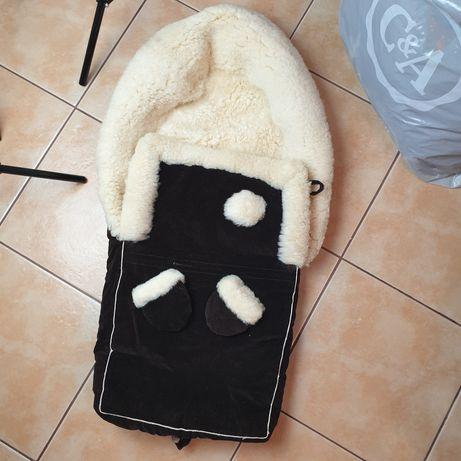 Kożuch prawdziwy wkład do wózka na zimę rękawiczki ciepły ocieplany