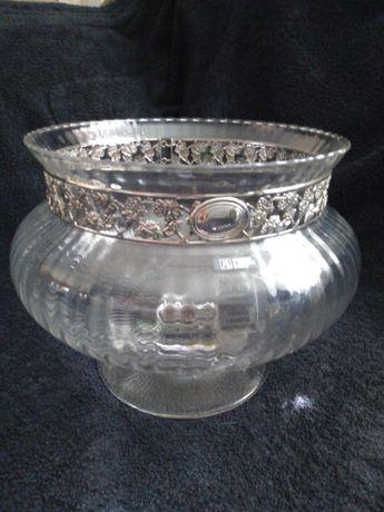 Хрустальная ваза в серебряной оправе 925 пробы