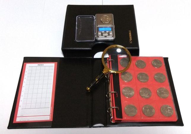 Подарочный набор нумизмата (Альбом в футляре + лупа + весы) Профи