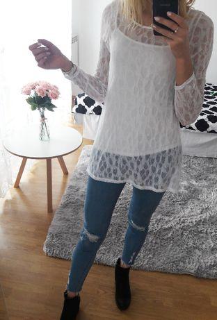 biała koronka bluzka koszula długi rekaw koronkowa ażur nowa m s
