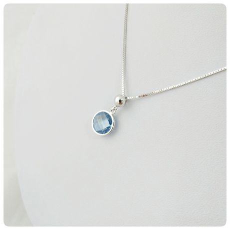 Łańcuszek - celebrytka, białe złoto 585, niebieskie oczko