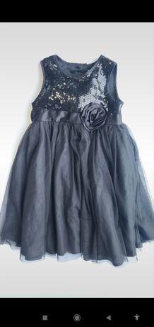 Ladybird piękna wizytowa  stalowa sukienka cekiny Kwiat 116cm vint