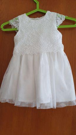 Sukienka Primark chrzest, roczek biała 86