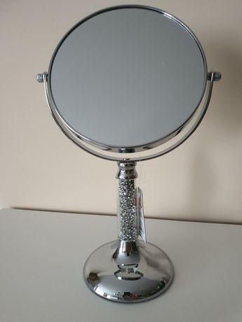 Lusterko srebrne kryształki diament home-you