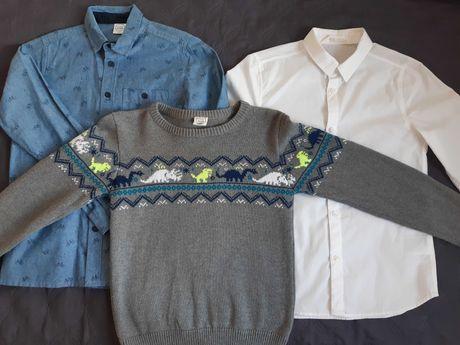 2 koszule plus sweter, CoolClub, H&M. Chłopiec. R. 140.