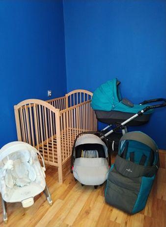 wózek 3 w 1, łóżeczko, fotelik do karmienia i inne