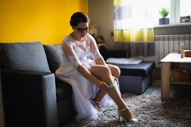 sukienka ślubna, koronka, rozcięcie, na wzrost 170 cm
