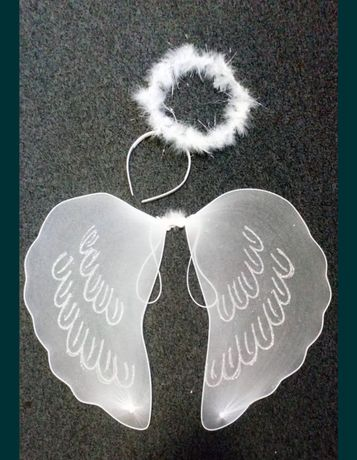 Skrzydła anioła + aureola nowy komplet anioł jasełka bal skrzydełka