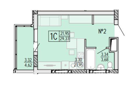 "1 комн. ЖК""Акварель-4"", Черемушки. 30кв.м. Балкон. Парк. ПВ от 10 %."