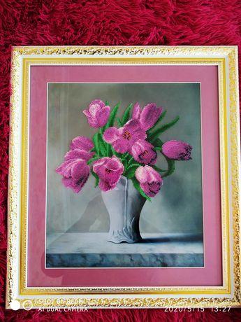 Картина вишита бісером тюльпани в вазі