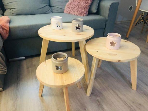 Drewniane stoliki kawowe, 3 sztuki, stół, okrągły stolik