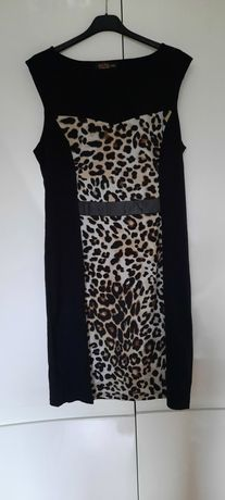 Sukienka panterka L czarna wesele