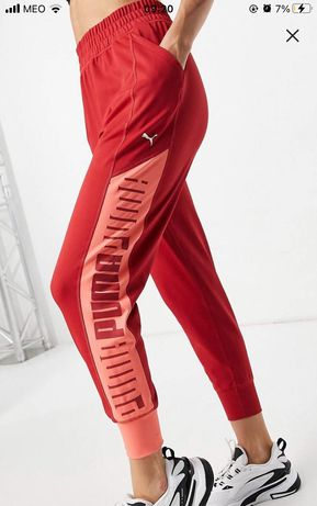 Puma Training joggers in pink with red panels & cream logo
