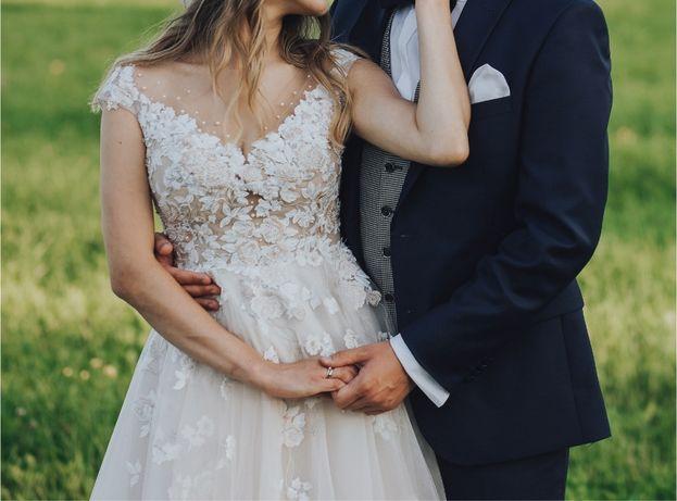 Suknia ślubna kwiaty 3d różowa / beżowa Gabbiano roz. 36