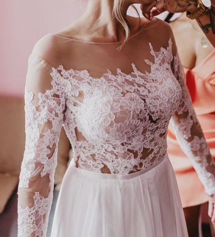 Suknia ślubna, koronka + muślin