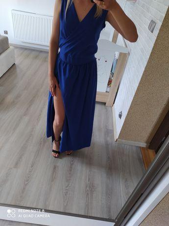 Długa Maxi chabrowa sukienka rozmiar M.