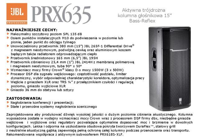 Głośniki JBL PRX 635 - 2 sztuki w doskonałym stanie